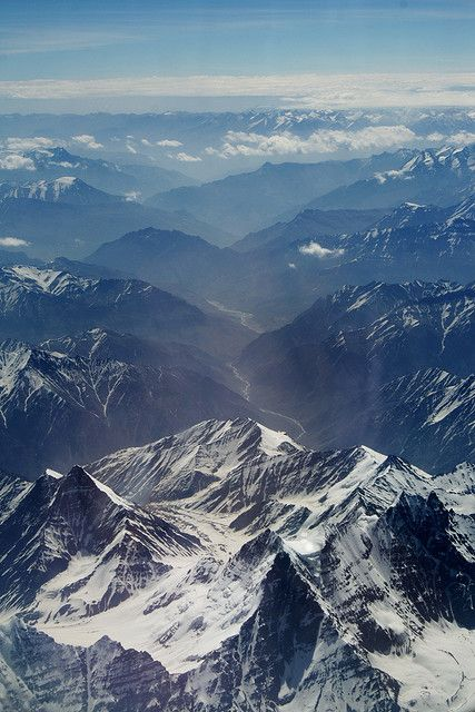 Himalayas - K2 (Mount Godwin Austen or Dapsang) is world's 2nd tallest peak reaches an altitude of 28,251 feet, and is hundreds of miles north of Mount Everest.