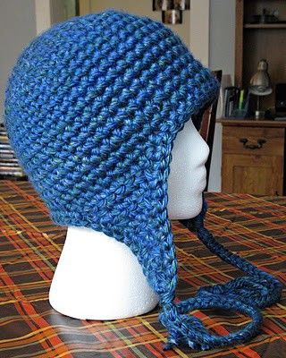 Free Crochet Basic Ear flap Hat Pattern.