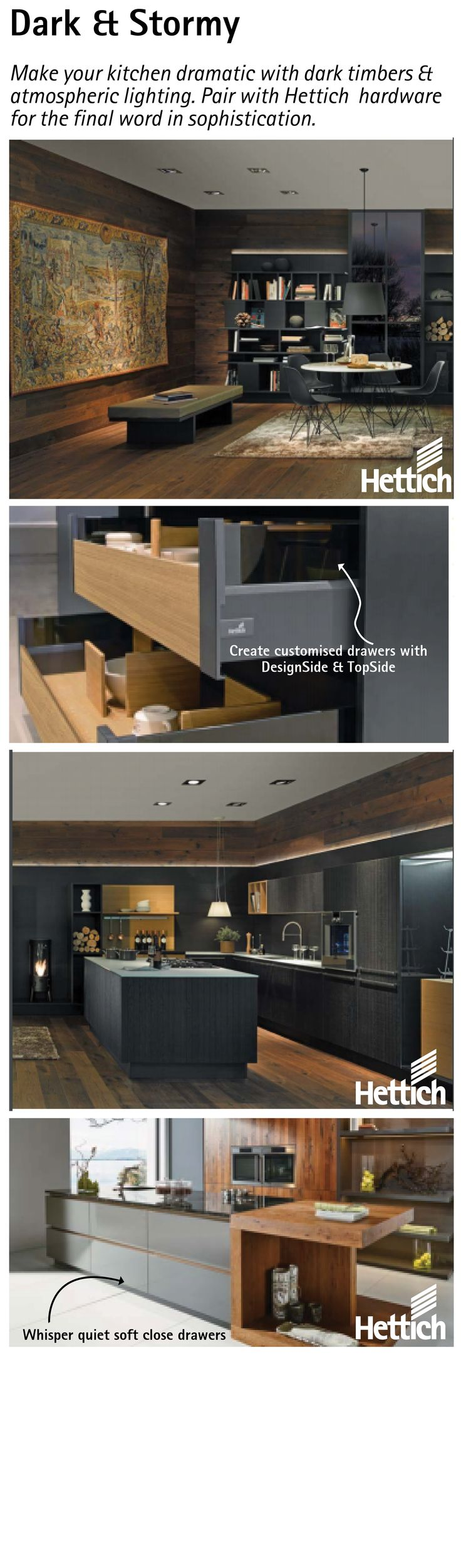 Make your kitchen dramatic with dark timbers & atmospheric lighting. Pair with Hettich hardware for the final word in sophistication. Click on the pin for more inspiration. #darkkitchencabinets #woodencabinets #kitchenideas