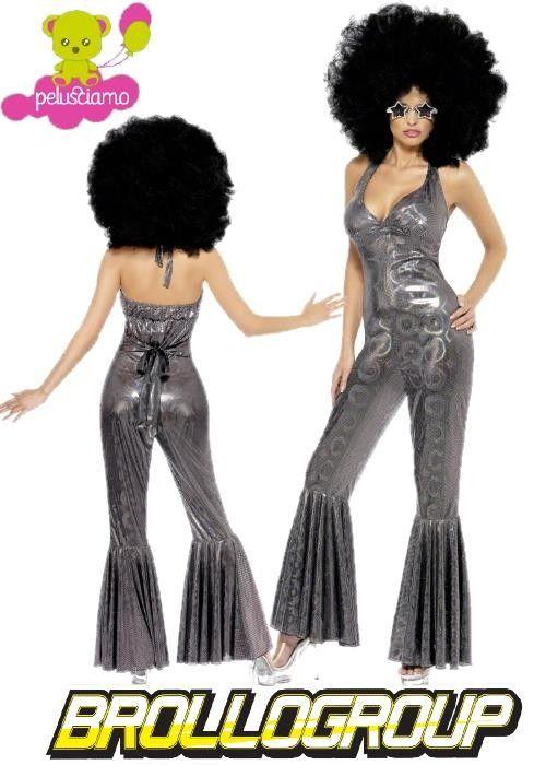Costume Carnevale Donna Disco diva Fever anni 70 Argento *15114