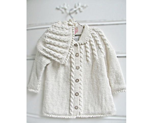 Zia & Tia Organic Hand knit Cable Matinee Coat & Hat - Girls