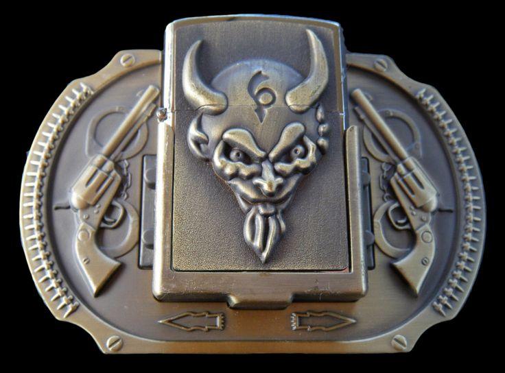 DEVIL EVIL SATAN HELL DIABLE DEMON DAEMON FLINT LIGHTER BELT BUCKLE