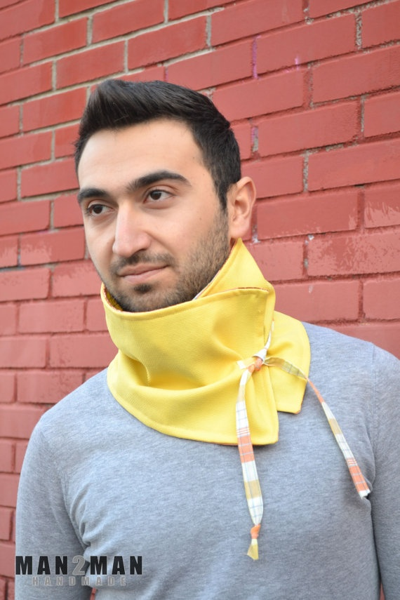 Yellow Stylish Unisex Scarf / Mens Neckwarmer - Handmade