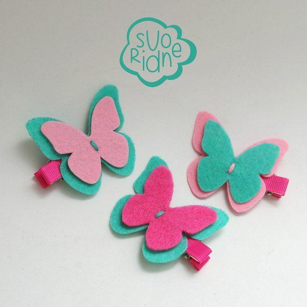 Заколка из фетра бабочка, Felt barrette butterfly