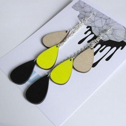 Pisarakorvikset, koivu-neonkeltainen-musta