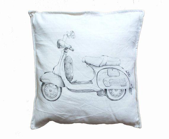 Vespa pillowcase eco friendly Pillow Pinup by KropkaDesign on Etsy