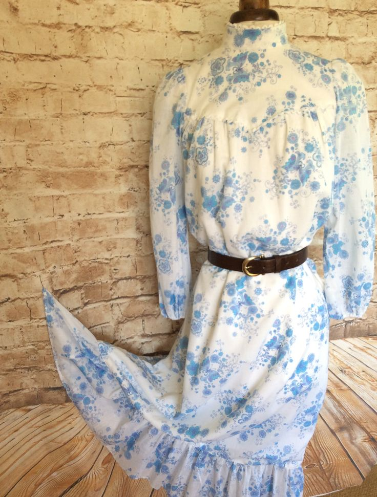 Vintage Prairie Dress Maxi Bohemian Wedding White With Blue Butterflies Hippy Boho Chic Festival Occasion Medium c 1970s by InVogueToVintage on Etsy