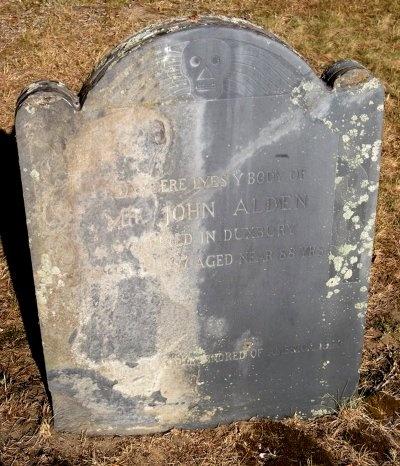 "Gravestone of our ancestor, John Alden, passenger on the ""Mayflower,"" and husband of Priscilla Mullins Alden. Tombstone, Duxbury, MA"