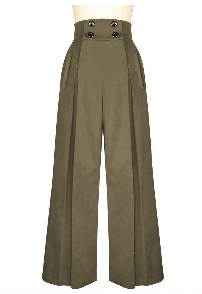 Vintage Wide Leg Pants in Khaki at www.modemundo.com