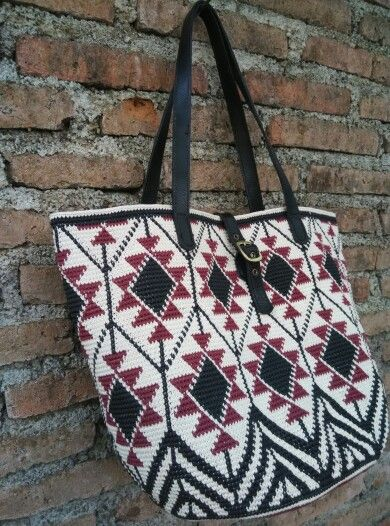 Tapestry tote bag. Made from waxed cotton cord 1mm.