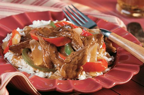 Campbell's Easy Pepper Steak Recipe. Added minced garlic, doubled the gravy, 2 TB Worcestershire sauce, cracked pepper