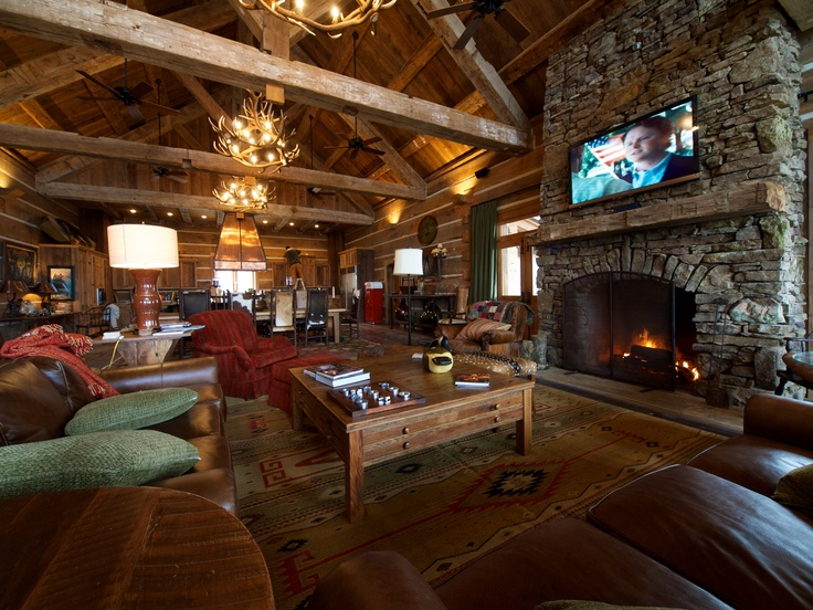 Grand Room With Reclaimed Wood Beams And Fireplace Mantel