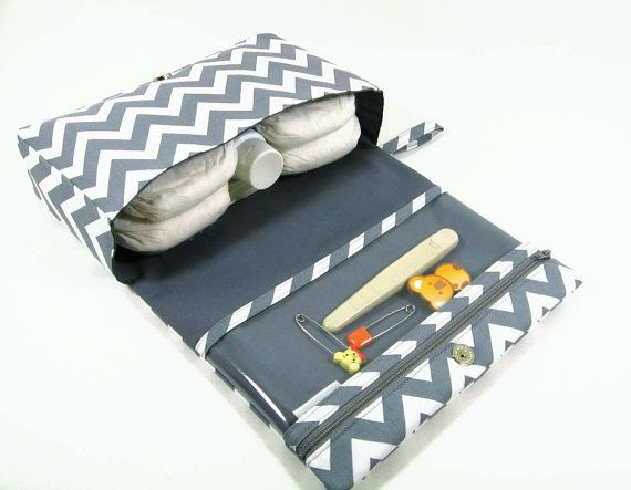 Chevron diaper bag diaper clutch grey diaper purse by purseNmore