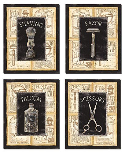 4 Vintage Barber Shop Art Prints Shave Scissors; Four 8 x 10 Mounted Prints Gango Home Decor http://www.amazon.com/dp/B00Y3KKP4Y/ref=cm_sw_r_pi_dp_RtCHwb1P16DBV