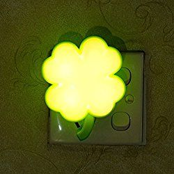 YJY Light Sensor Night Light - Intelligent Control LED Wall Lamp Plug in for Baby Child Nursery - New Clover Yellow