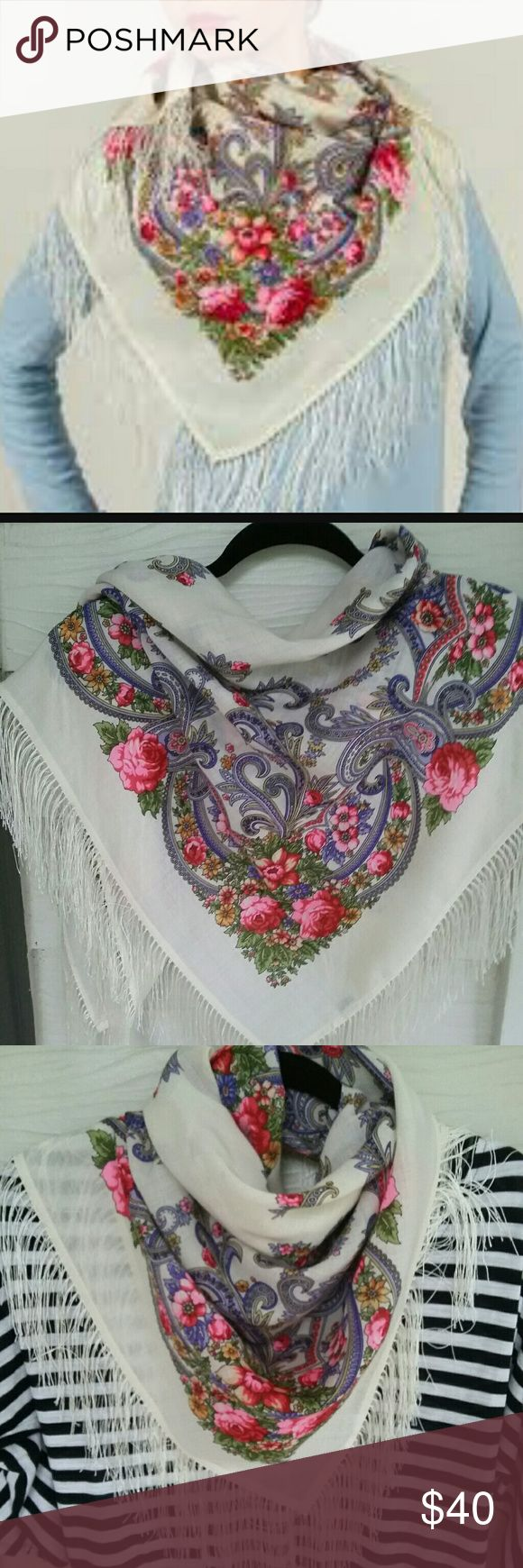 "Scarf floral Woolen scarf, 100% wool, silk fringe. Size 35"" × 35 "" Russian Accessories Scarves & Wraps"
