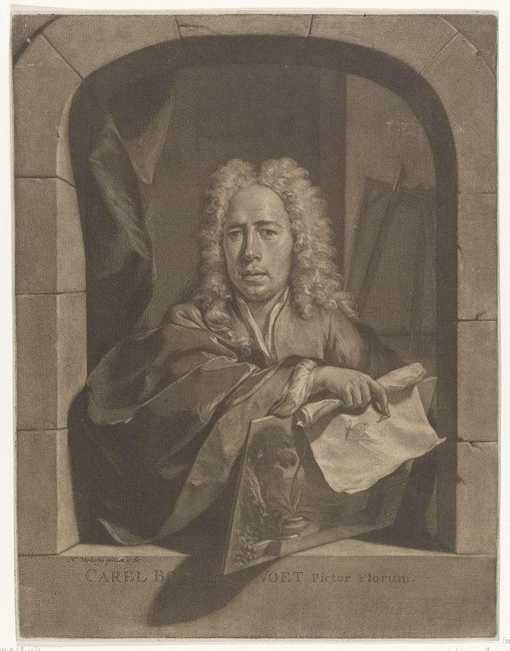 Nicolaas Verkolje | Portret van Carel Borchaert Voet, Nicolaas Verkolje, c. 1720 | De stillevenschilder Carel Borchaert Voet staat in een venster. In zijn hand heeft hij een paneel, waarop diverse planten, en een rol papier, waarop twee insecten zijn afgebeeld. Op de achtergrond en schildersezel.