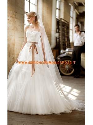 moda senza spalline applique tulle bianco abito da sposa 2013