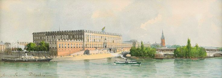 Watercolors by Swedish Artist Anna Palm ~ 'View of the Royal Palace from Blasieholmen'