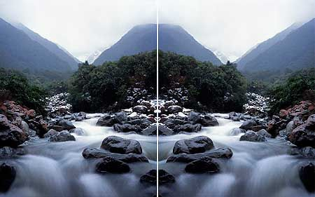 Ann Shelton. Wintering after a van der Velden study, Otira Gorge. (mirroring)