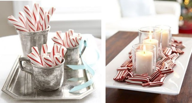Use candy canes to create festive displays for the living room coffee table.