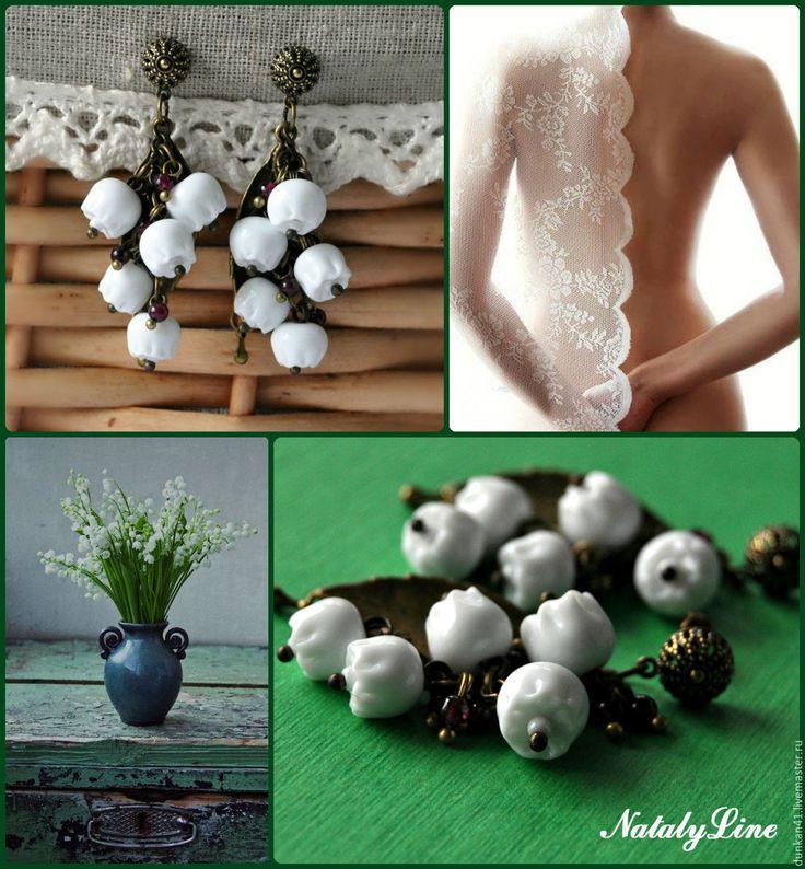 """Купить Серьги """"Ландыши"""" Винтаж - белый, серьги, винтаж, винтажный стиль, винтажные украшения"""