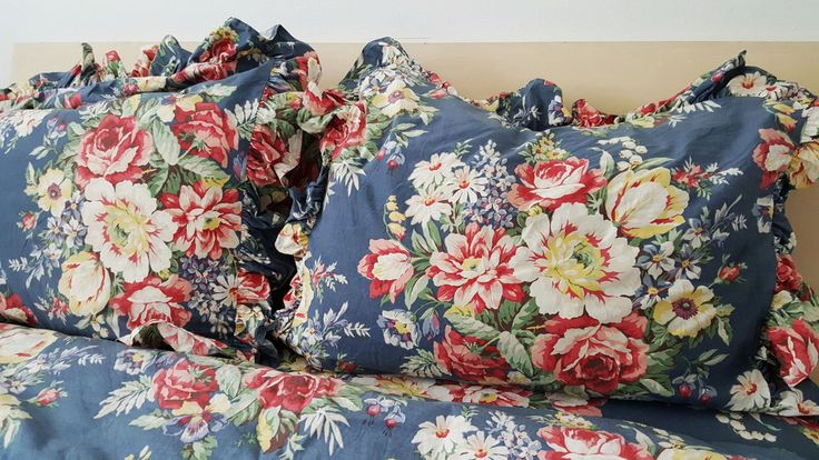 Ralph Lauren Pillow Shams Kimberly Blue French Country Floral Ruffle Bedding #RalphLauren #FrenchCountry