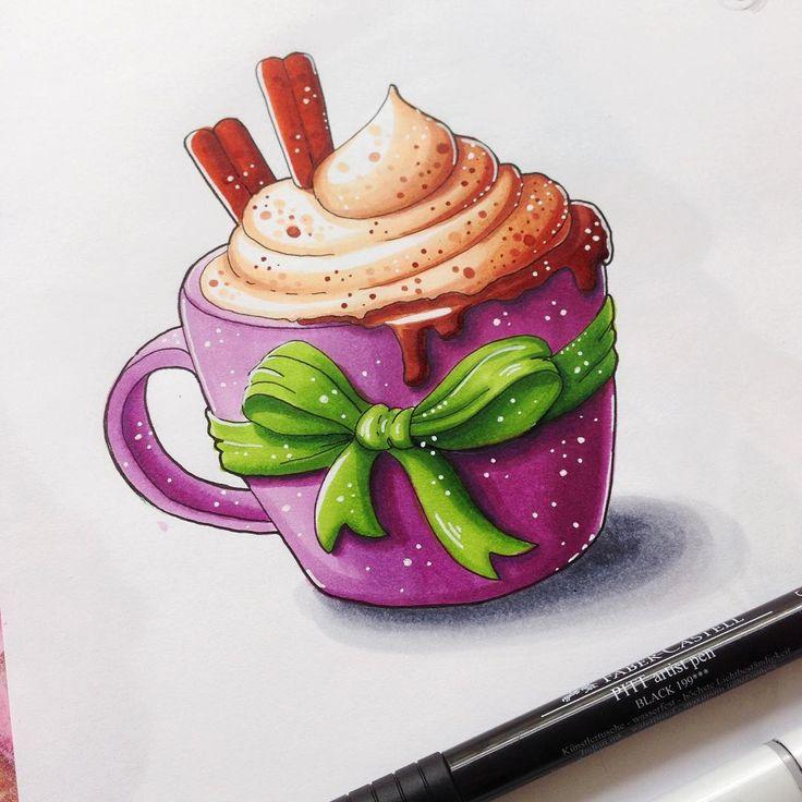 """Чашечка наивкуснейшего капуччино или """"Как я не выдержала и все-таки поучаствовала в экстрим-скетчинге"""":))) #экстримскетчинг2016 #экстримскетчинг2 #экстримскетчинг #kalachevaschool #365daysofdrawing #sketcheveryday #copicmarkers #sketchaday #sketchbookart #butfirstcoffee #capuccino"""