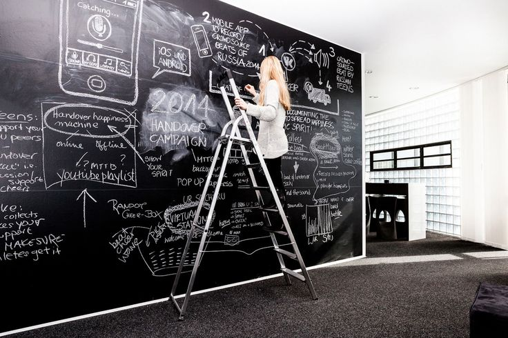 Giant 'whiteboard'. Could have whole wall giant whiteboard, can put art, ideas, etc. Ever changing, kind of cool. Hire artists to create stuff on it.