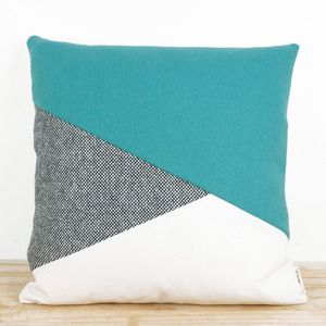 Coussin DAN | turquoise, gray & white throw pillow