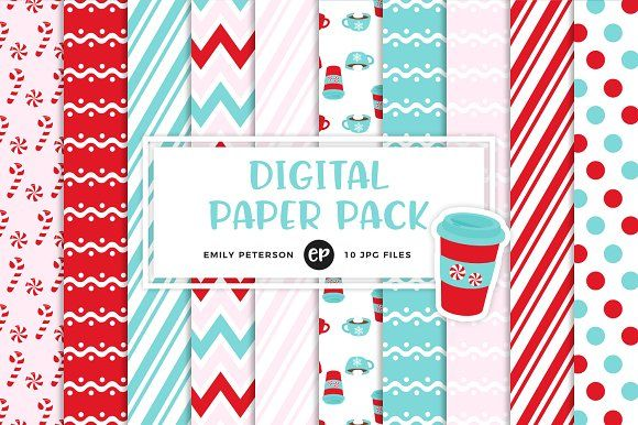 Peppermint Mocha Digital Papers by Emily Peterson Studio on @creativemarket Perfect for product design, gift wrapping, crafts, room decor, invitations, greeting cards, tags, labels and so much more. **Affiliate Link**