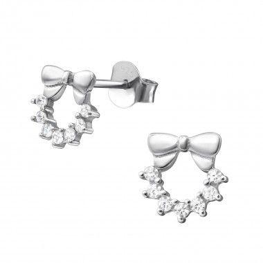 925 zilveren oorstekers met strikje en zirconia kristallen.