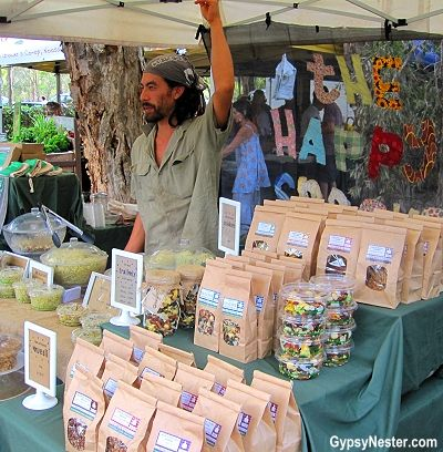 A booth at the Sunday Noosa Farmers Market in Queensland, Australia