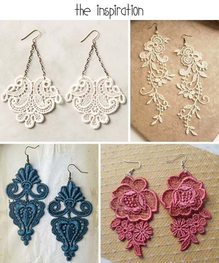 diy-lace-earrings-inspiration  Supplies available at www.bergerbeads.net