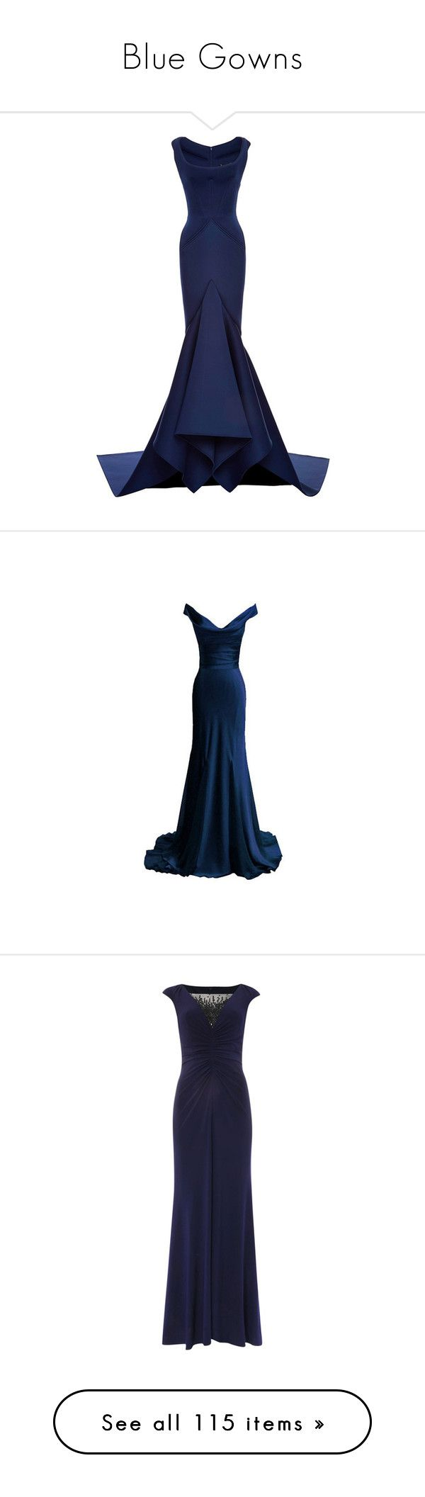 """""""Blue Gowns"""" by worldofscatteringflowers ❤ liked on Polyvore featuring dresses, gowns, gown, zac posen, neoprene dress, zac posen gowns, white flared dress, white gown, white flare dress and long dresses"""