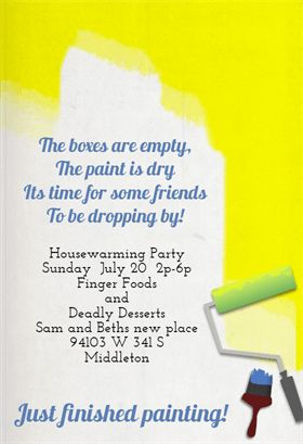 Finished Painting - Printable Housewarming Invitation Template