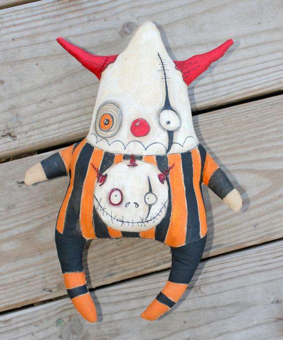 Primitive Modern OOAK Doll Nightmare Skellington Clown Goth Softie Creepy…