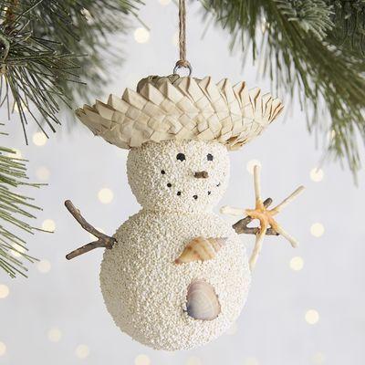 Straw Hat Sand Snowman Ornament | Pier 1 Imports