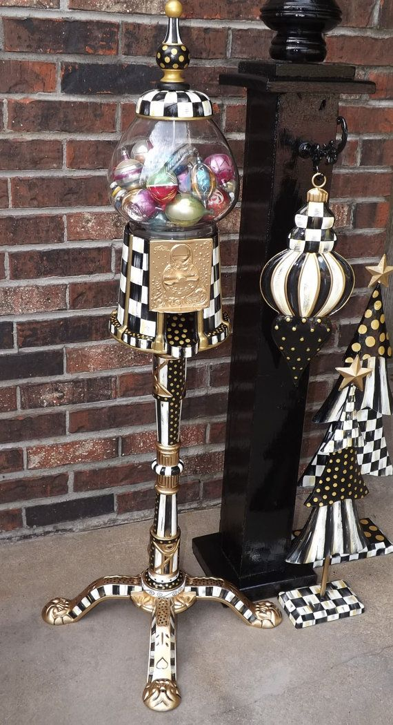 "38"" Whimsical Black & White Check Gumball Machine Hand Painted Mackenzie Childs Inspired"