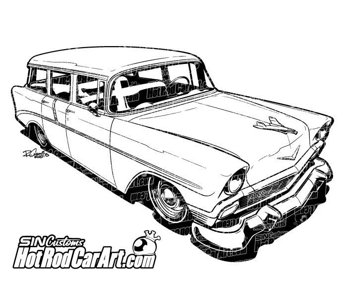 Hot Rod Car Art - 1956 Chevrolet Nomad - Classic Car, $65.00 (http://www.hotrodcarart.com/1956-chevrolet-nomad-classic-car/)
