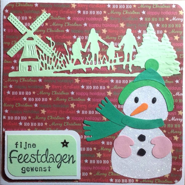 Kerstkaart #29 Sneeuwpop Marianne Design