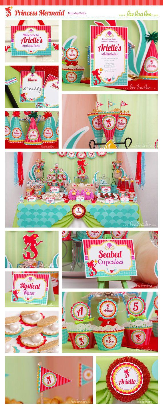 Princess Mermaid Birthday Party Package Collection by LeeLaaLoo #princess #mermaid #clam #birthday #party #theme #leelaaloo