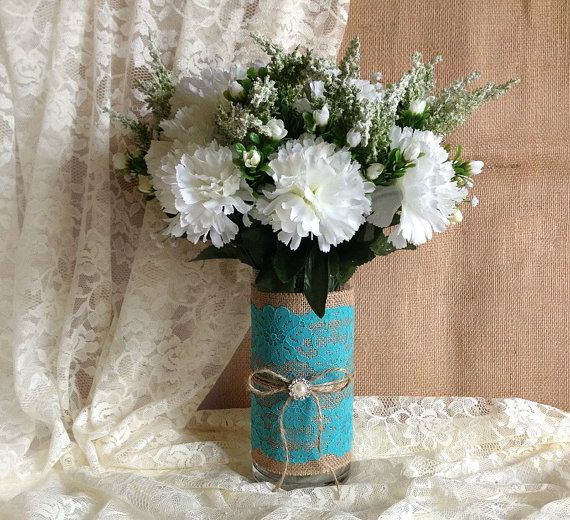 Rustic Deep Turquoise blue lace and natural burlap vase ...