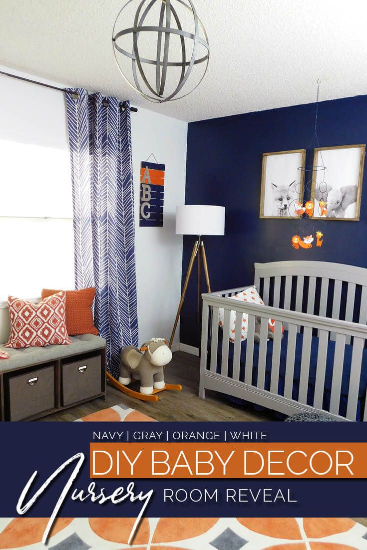 Navy Gray And Orange Baby Room Reveal Baby Room Color Schemes