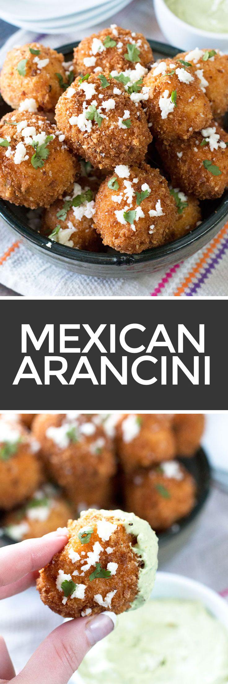Mexican Arancini with Avocado Cilantro Dipping Sauce | cakenknife.com