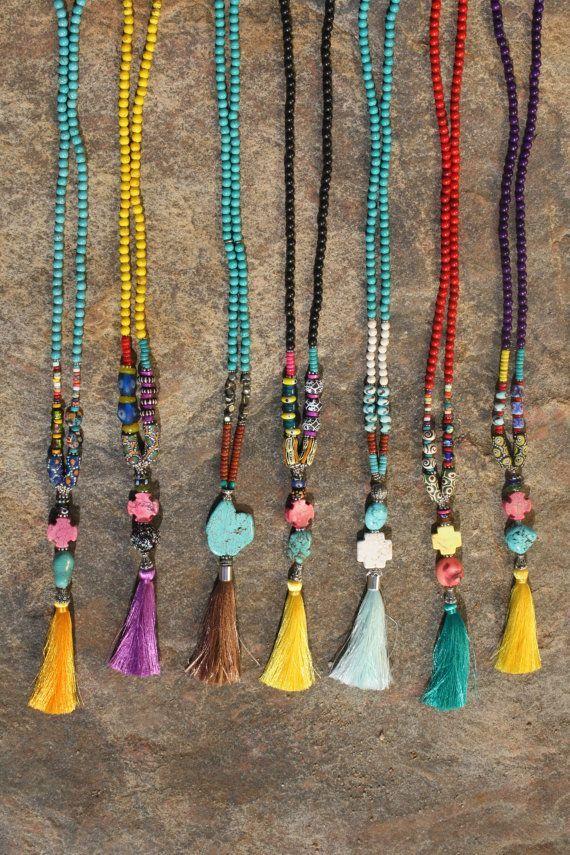 Bohemian Tassel Necklace. Boho Silk Tassel Jewelry. Boho Hippie necklace. Boho Gypsy Jewelry. Stones, Beads & Silk Tassels. Festival jewelry