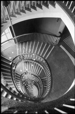 Self-supporting elliptical staircase in Binns department store in Middlesbrough, designed by Gordon Jeeves (Chartered Architects), built by Leslies of Darlington & London, 1957. I've been up and down these stairs so many times, and never noticed how wonderful they were!