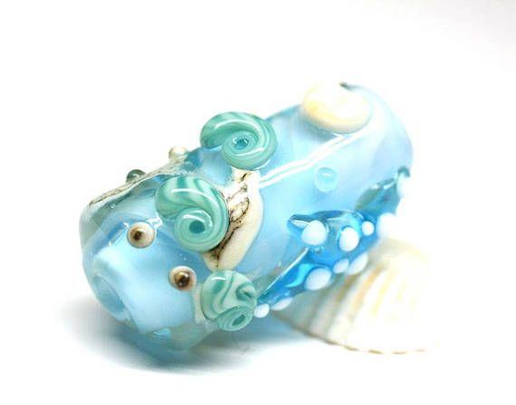 Blue glass pendant Lampwork focal bead Seashell Starfish