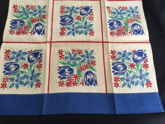 Vintage Linen Dish Towel 1940's Cornflower Blue Red Green Tea Towel