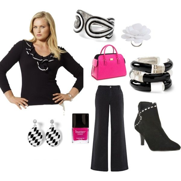 Black and White Plus Size with a little pop of Hot Pink